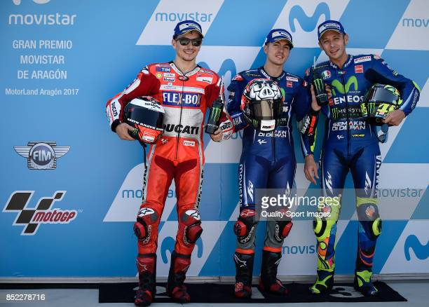 Jorge Lorenzo of Spain and Ducati Team Maverick Vinales of Spain and Movistar Yamaha MotoGP Valentino Rossi of Italy and Movistar Yamaha MotoGP pose...