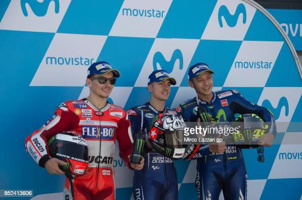Jorge Lorenzo of Spain and Ducati Team Maverick Vinales of Spain and Movistar Yamaha MotoGP and Valentino Rossi of Italy and Movistar Yamaha MotoGP...