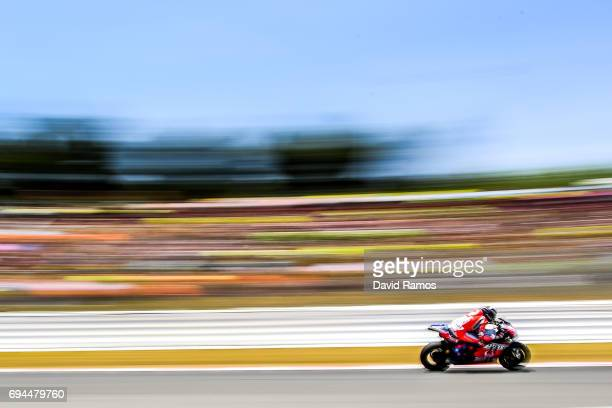 Jorge Lorenzo of Spain and Ducati Team rides during the qualifying at Circuit de Catalunya on June 10 2017 in Montmelo Spain