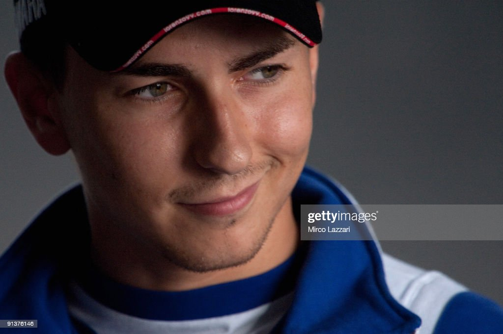 <a gi-track='captionPersonalityLinkClicked' href=/galleries/search?phrase=Jorge+Lorenzo&family=editorial&specificpeople=543869 ng-click='$event.stopPropagation()'>Jorge Lorenzo</a> of Spain and Fiat Yamaha Team smiles during the press conference after the qualifying practice session ahead of the MotoGP of Portugal at the Estoril Circuit on October 3, 2009 in Estoril, Portugal.