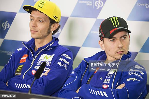Jorge Lorenzo of Spain and Movistar Yamaha MotoGP and Valentino Rossi of Italy and Movistar Yamaha MotoGP look on during the press conference during...
