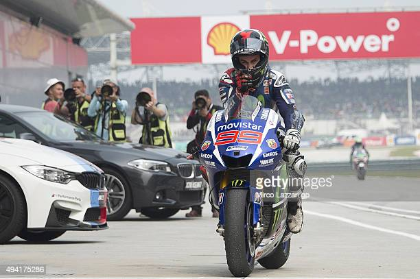 Jorge Lorenzo of Spain and Movistar Yamaha MotoGP celebrates second place at the end of the MotoGP race during the MotoGP Of Malaysia at Sepang...