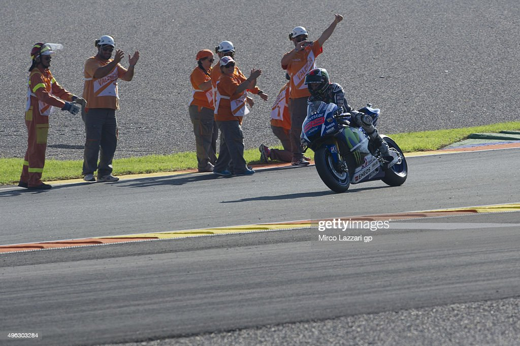 Jorge Lorenzo of Spain and Movistar Yamaha MotoGP celebrates the victory at the MotoGP championship during the MotoGP Race at Ricardo Tormo Circuit...