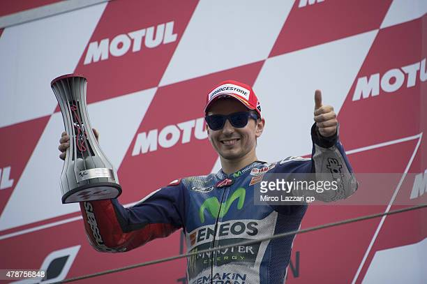 Jorge Lorenzo of Spain and Movistar Yamaha MotoGP celebrates the third place on the podium at the end of the MotoGP race during the MotoGP...