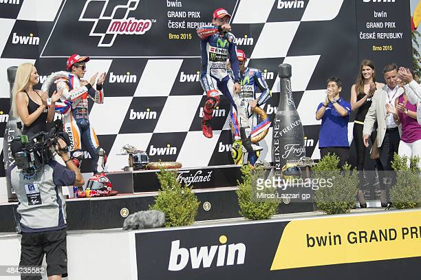 Jorge Lorenzo of Spain and Movistar Yamaha MotoGP celebrates the victory on the podium at the end of the MotoGP race during the MotoGp of Czech...