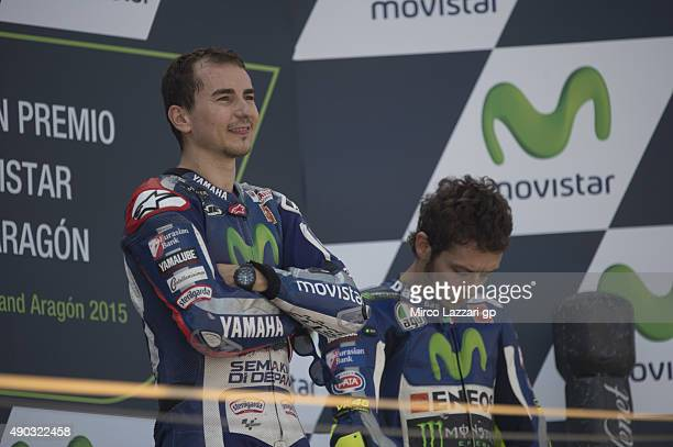 Jorge Lorenzo of Spain and Movistar Yamaha MotoGP celebrates the victory on the podium at the end of the MotoGP race during the MotoGP of Spain Race...