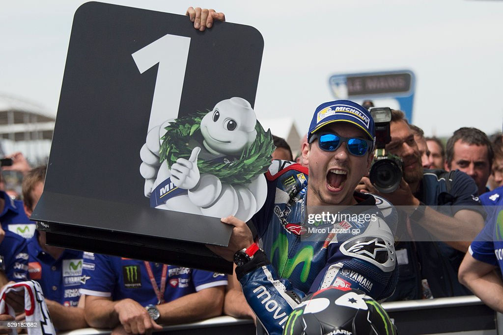 Jorge Lorenzo of Spain and Movistar Yamaha MotoGP celebrates the victory under the podium at the end of the MotoGP race during the MotoGp of France - Race at on May 8, 2016 in Le Mans, France.