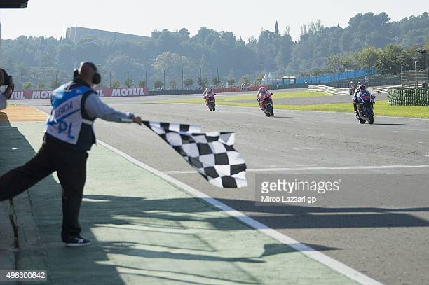 Jorge Lorenzo of Spain and Movistar Yamaha MotoGP cuts the finish lane and celebrates the victory at the MotoGP championship during the MotoGP Race...