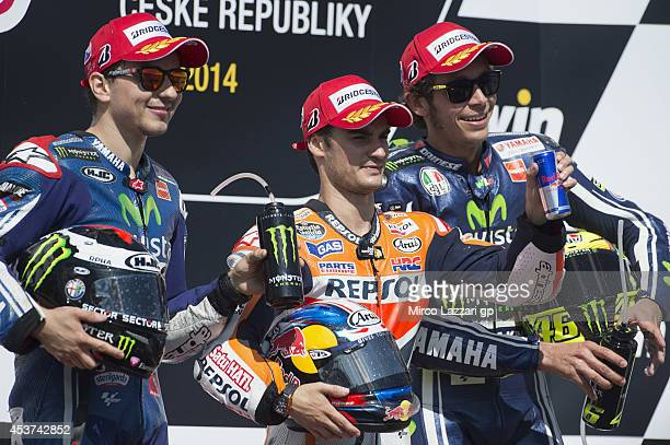 Jorge Lorenzo of Spain and Movistar Yamaha MotoGP Dani Pedrosa of Spain and Repsol Honda Team and Valentino Rossi of Italy and Movistar Yamaha MotoGP...