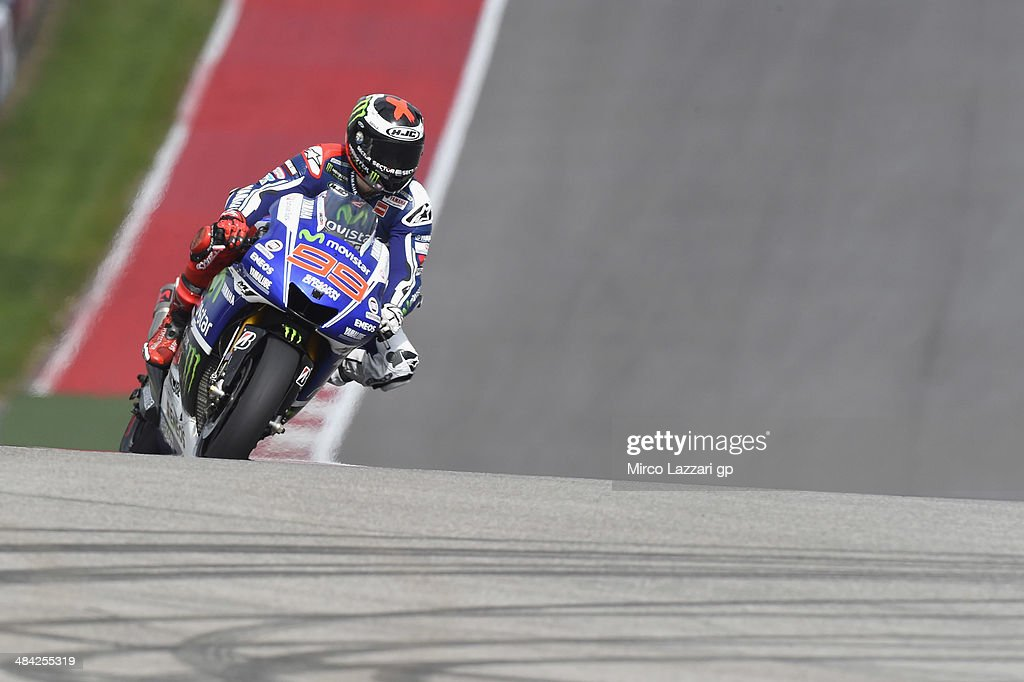 <a gi-track='captionPersonalityLinkClicked' href=/galleries/search?phrase=Jorge+Lorenzo&family=editorial&specificpeople=543869 ng-click='$event.stopPropagation()'>Jorge Lorenzo</a> of Spain and Movistar Yamaha MotoGP heads down a straight during the MotoGp Red Bull U.S. Grand Prix of The Americas - Free Practice at Circuit of The Americas on April 11, 2014 in Austin, Texas.