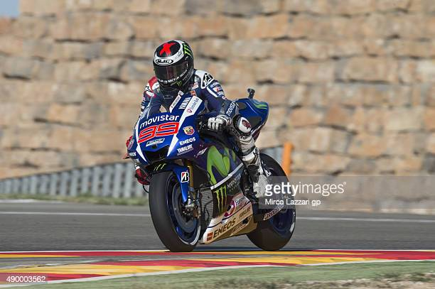 Jorge Lorenzo of Spain and Movistar Yamaha MotoGP heads down a straight during the MotoGP of Spain Free Practice at Motorland Aragon Circuit on...