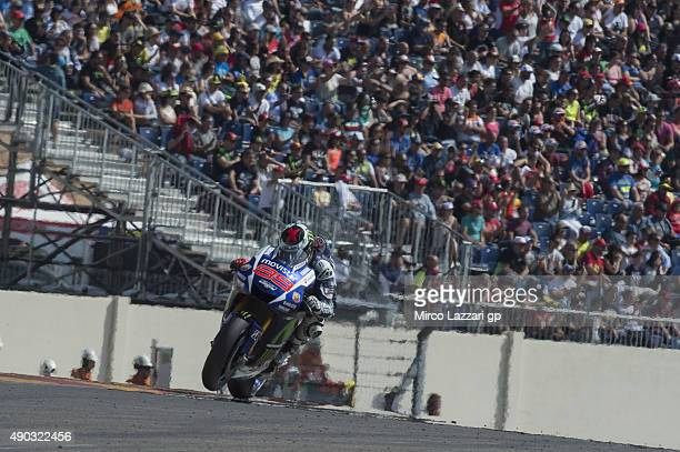Jorge Lorenzo of Spain and Movistar Yamaha MotoGP heads down a straight during the MotoGP race during the MotoGP of Spain Race at Motorland Aragon...