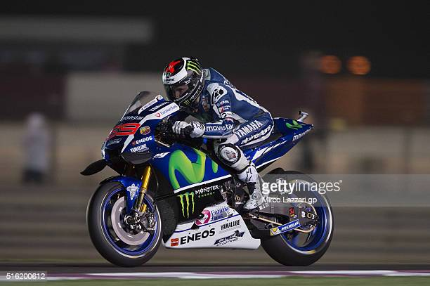 Jorge Lorenzo of Spain and Movistar Yamaha MotoGP heads down a straight during the MotoGp of Qatar Free Practice at Losail Circuit on March 17 2016...