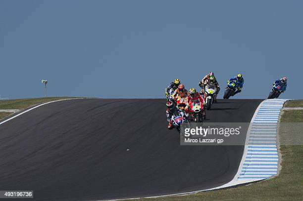 Jorge Lorenzo of Spain and Movistar Yamaha MotoGP leads the field during the MotoGP race during the MotoGP of Australia Race during the 2015 MotoGP...