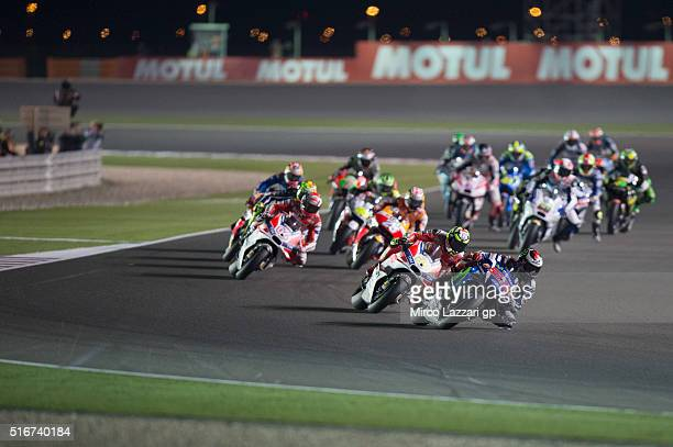 Jorge Lorenzo of Spain and Movistar Yamaha MotoGP leads the field during the MotoGP race during the MotoGp of Qatar Race at Losail Circuit on March...