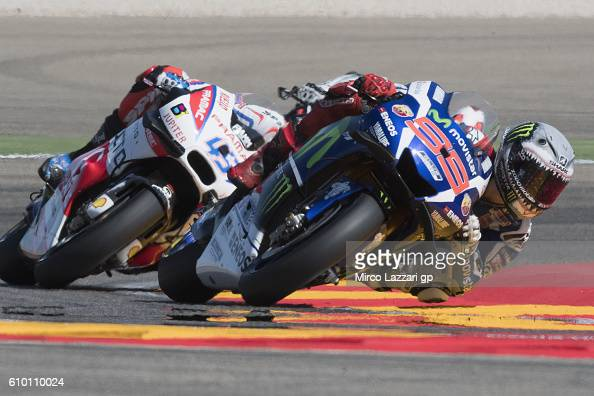 Jorge Lorenzo of Spain and Movistar Yamaha MotoGP leads the field during the qualifying practice during the MotoGP of Spain Qualifying at Motorland...