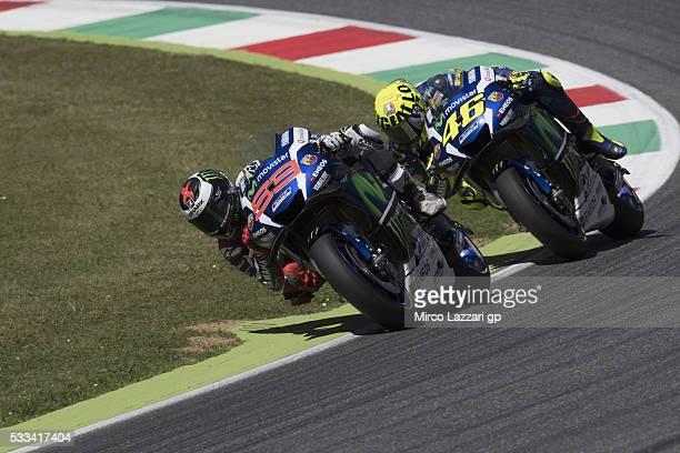 Jorge Lorenzo of Spain and Movistar Yamaha MotoGP leads Valentino Rossi of Italy and Movistar Yamaha MotoGP during the MotoGp of Italy Race at...