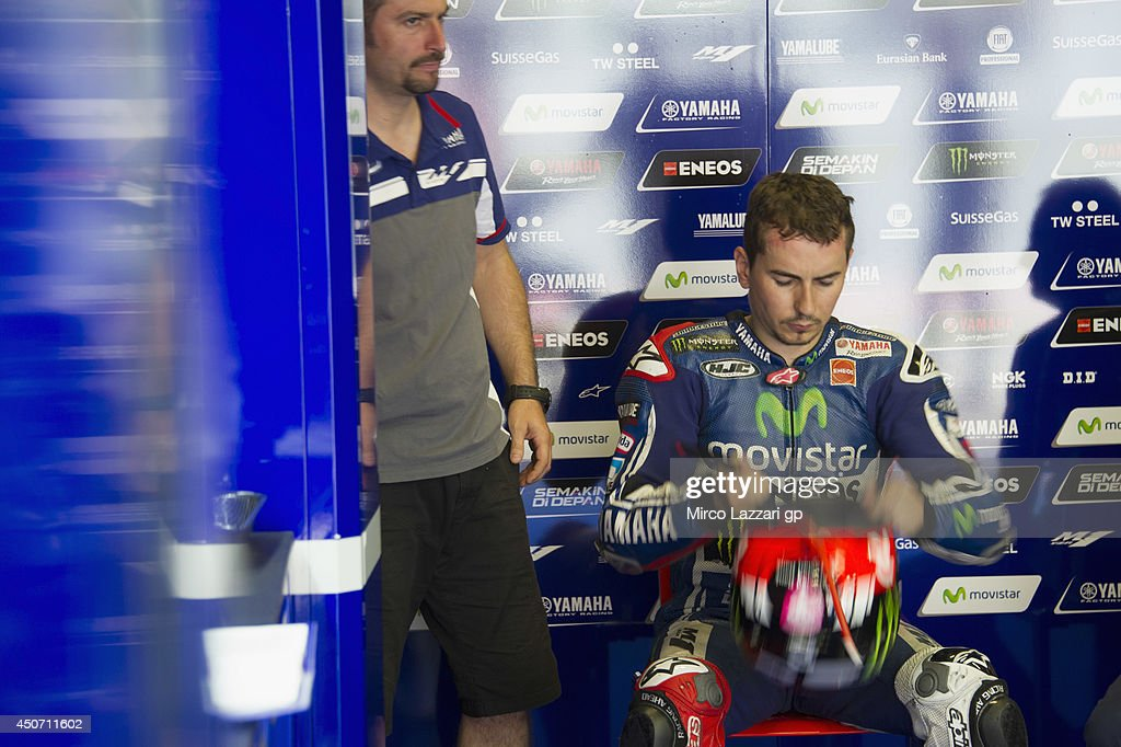 Jorge Lorenzo of Spain and Movistar Yamaha MotoGP prepares to start in box during the MotoGp Tests In Montmelo at Circuit de Catalunya on June 16, 2014 in Montmelo, Spain.