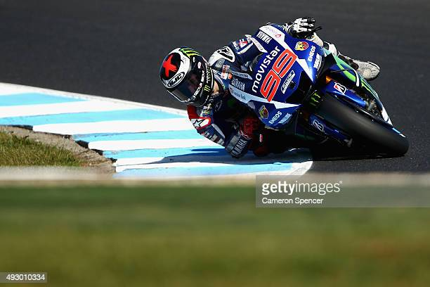 Jorge Lorenzo of Spain and Movistar Yamaha MotoGP rides during qualifying for the 2015 MotoGP of Australia at Phillip Island Grand Prix Circuit on...