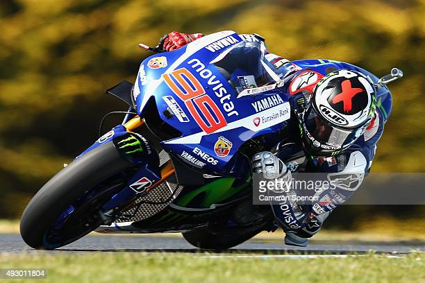 Jorge Lorenzo of Spain and Movistar Yamaha MotoGP rides during practice for the 2015 MotoGP of Australia at Phillip Island Grand Prix Circuit on...