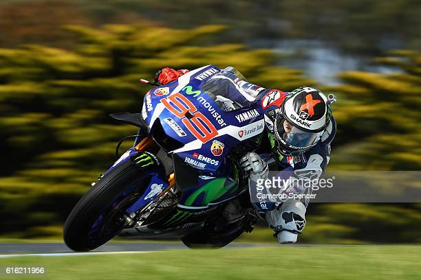 Jorge Lorenzo of Spain and Movistar Yamaha MotoGP rides during qualifying for the 2016 MotoGP of Australia at Phillip Island Grand Prix Circuit on...