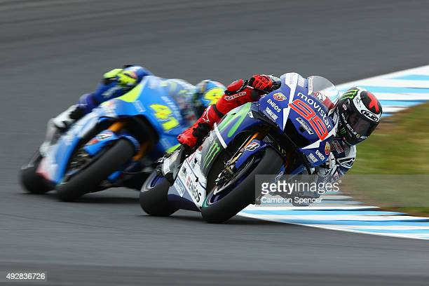 Jorge Lorenzo of Spain and Movistar Yamaha MotoGP rides during free practice for the 2015 MotoGP of Australia at Phillip Island Grand Prix Circuit on...