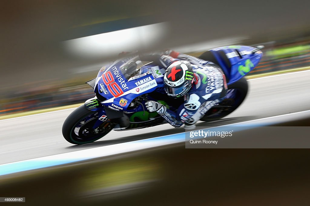 <a gi-track='captionPersonalityLinkClicked' href=/galleries/search?phrase=Jorge+Lorenzo&family=editorial&specificpeople=543869 ng-click='$event.stopPropagation()'>Jorge Lorenzo</a> of Spain and Movistar Yamaha MotoGP rides during free practice for the 2015 MotoGP of Australia at Phillip Island Grand Prix Circuit on October 17, 2015 in Phillip Island, Australia.