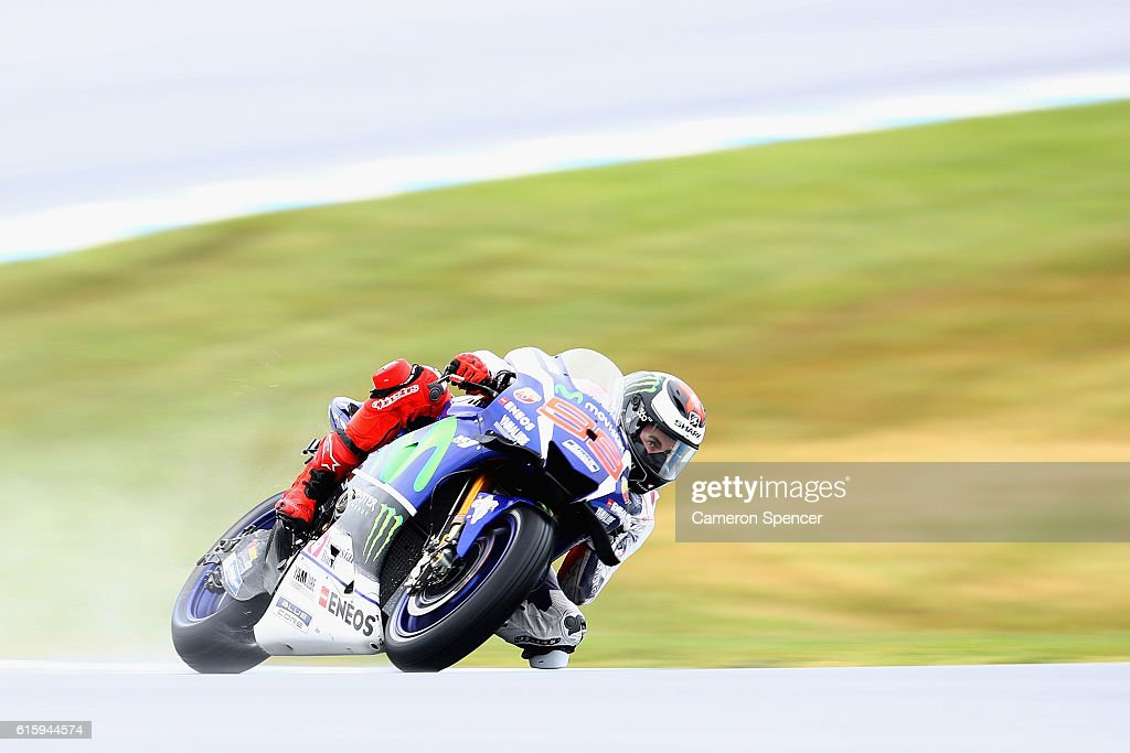 Jorge Lorenzo of Spain and Movistar Yamaha MotoGP rides during free practice for the 2016 MotoGP of Australia at Phillip Island Grand Prix Circuit on October 21, 2016 in Phillip Island, Australia.