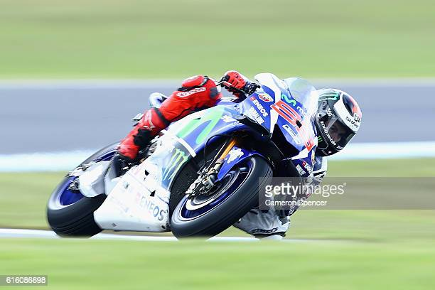 Jorge Lorenzo of Spain and Movistar Yamaha MotoGP rides during free practice for the 2016 MotoGP of Australia at Phillip Island Grand Prix Circuit on...