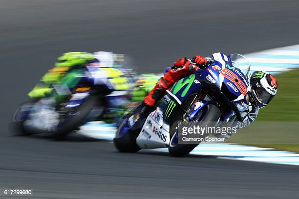 Jorge Lorenzo of Spain and Movistar Yamaha MotoGP rides during warm up prior to the 2016 MotoGP of Australia at Phillip Island Grand Prix Circuit on...