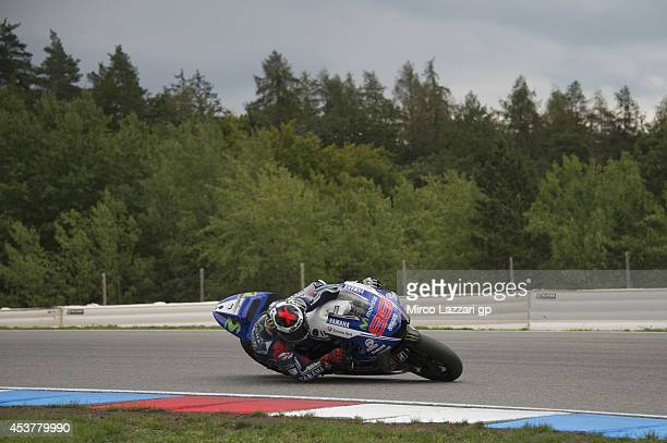 Jorge Lorenzo of Spain and Movistar Yamaha MotoGP rounds the bend during the MotoGp Tests in Brno at Brno Circuit on August 18 2014 in Brno Czech...