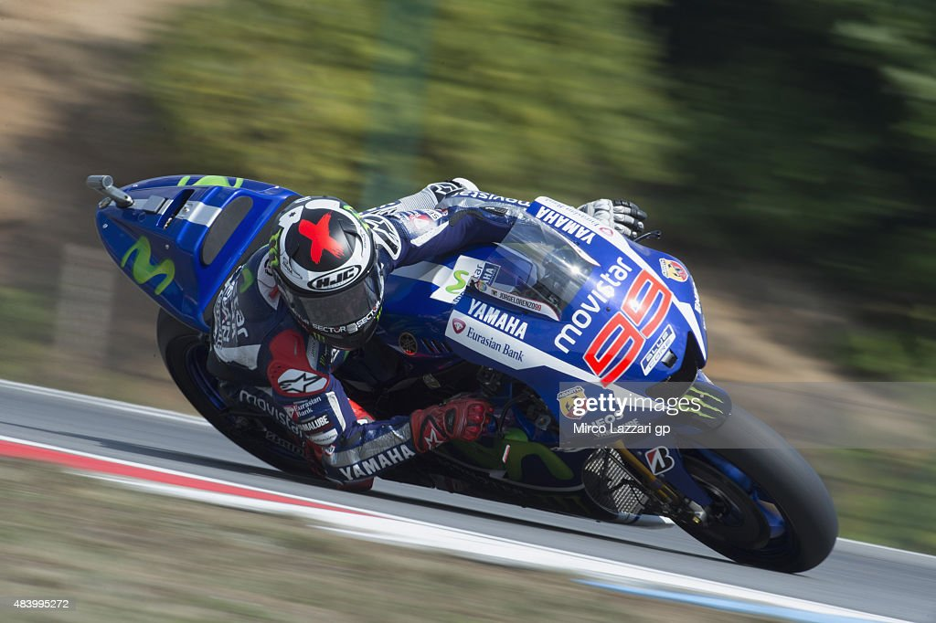 <a gi-track='captionPersonalityLinkClicked' href=/galleries/search?phrase=Jorge+Lorenzo&family=editorial&specificpeople=543869 ng-click='$event.stopPropagation()'>Jorge Lorenzo</a> of Spain and Movistar Yamaha MotoGP rounds the bend during the MotoGp of Czech Republic - Free Practice at Brno Circuit on August 14, 2015 in Brno, Czech Republic.