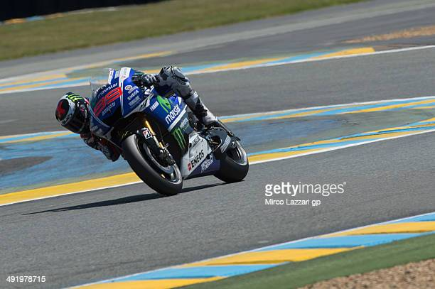 Jorge Lorenzo of Spain and Movistar Yamaha MotoGP rounds the bend during the MotoGP race during the MotoGp Of France Race on May 18 2014 in Le Mans...