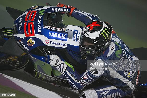 Jorge Lorenzo of Spain and Movistar Yamaha MotoGP rounds the bend during the MotoGp of Qatar Free Practice at Losail Circuit on March 17 2016 in Doha...