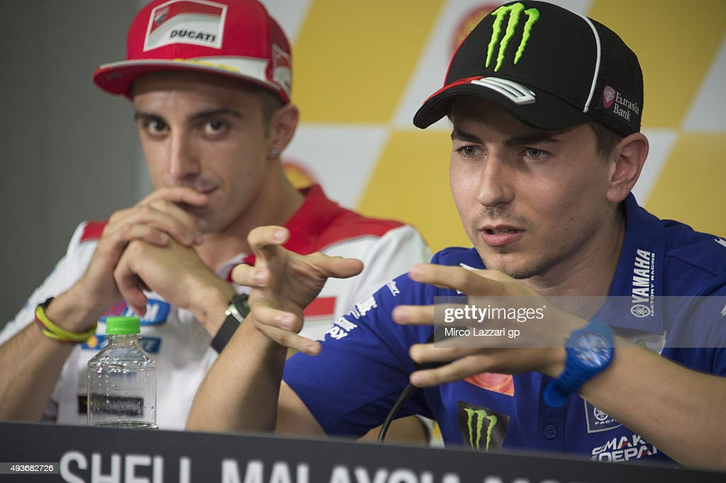Jorge Lorenzo of Spain and Movistar Yamaha MotoGP speaks during the press conference ahead of the MotoGP of Malaysia at Sepang Circuit on October 22, 2015 in Kuala Lumpur, Malaysia.
