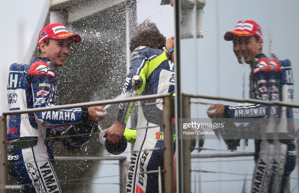 Jorge Lorenzo of Spain and rider of the #99 Yamaha Factory Racing Yamaha celebrtes after winning the Australian MotoGP race at the Phillip Island Grand Prix Circuit on October 20, 2013 in Phillip Island, Australia.
