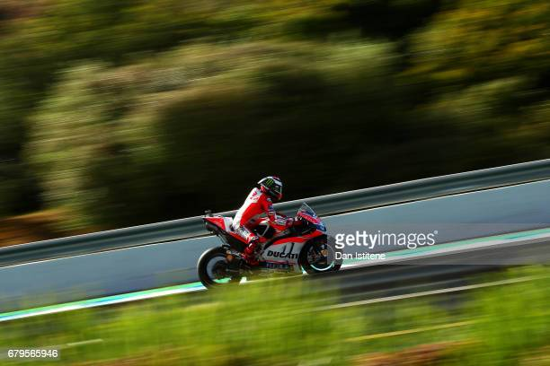 Jorge Lorenzo of Spain and the Ducati Team rides during final practice for the MotoGP of Spain at Circuito de Jerez on May 6 2017 in Jerez de la...
