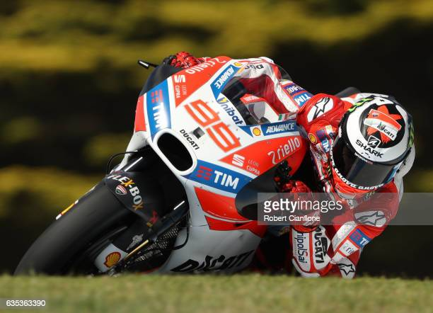 Jorge Lorenzo of Spain and the Ductati Team rides during 2017 MotoGP preseason testing at Phillip Island Grand Prix Circuit on February 15 2017 in...