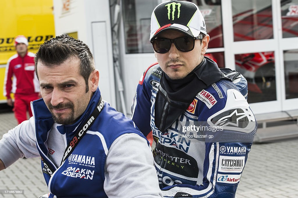 <a gi-track='captionPersonalityLinkClicked' href=/galleries/search?phrase=Jorge+Lorenzo&family=editorial&specificpeople=543869 ng-click='$event.stopPropagation()'>Jorge Lorenzo</a> of Spain and Yamaha Factory Racing arrives in box during the wurm-up before the race during the MotoGp Of Holland - Race at TT Circuit Assen on June 29, 2013 in Assen, Netherlands.