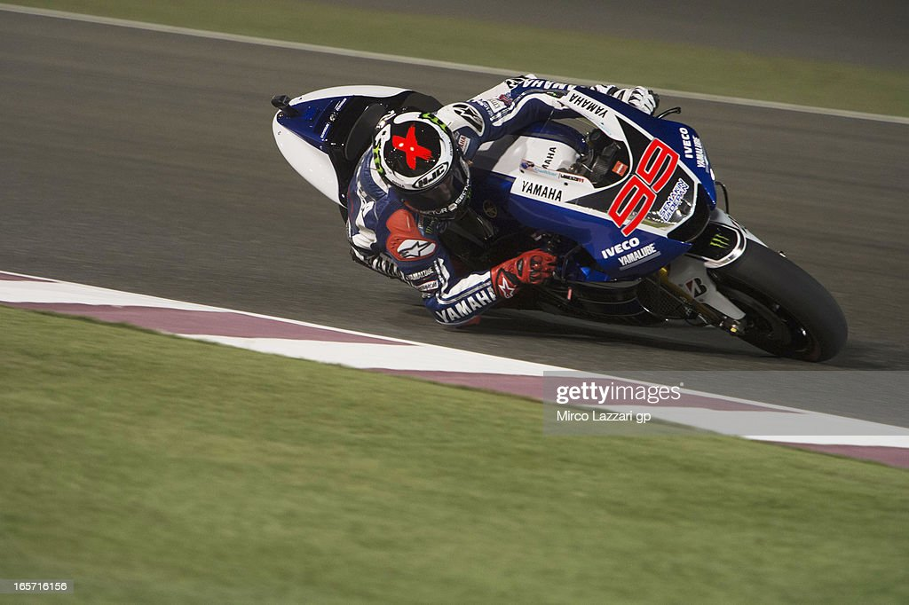 <a gi-track='captionPersonalityLinkClicked' href=/galleries/search?phrase=Jorge+Lorenzo&family=editorial&specificpeople=543869 ng-click='$event.stopPropagation()'>Jorge Lorenzo</a> of Spain and Yamaha Factory Racing rounds the bend during the MotoGp of Qatar - Free Practice at Losail Circuit on April 5, 2013 in Doha, Qatar.