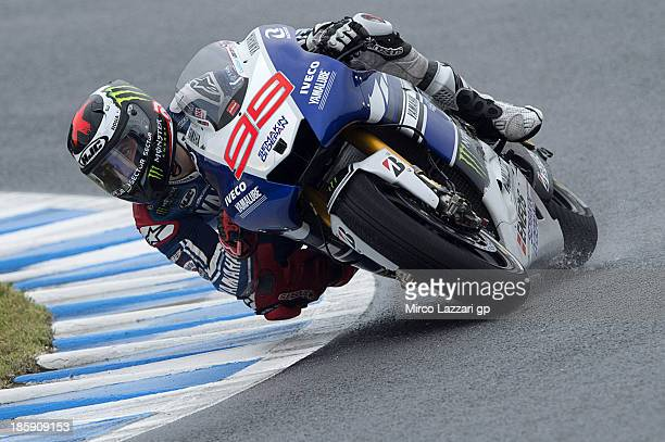 Jorge Lorenzo of Spain and Yamaha Factory Racing rounds the bend during the MotoGP Of Japan qualifying session at Twin Ring Motegi on October 26 2013...