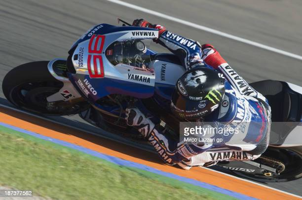 Jorge Lorenzo of Spain and Yamaha Factory Racing rounds the bend during the MotoGP of Valencia free practice at Ricardo Tormo Circuit on November 8...