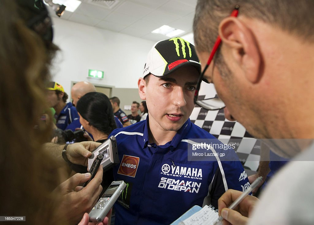<a gi-track='captionPersonalityLinkClicked' href=/galleries/search?phrase=Jorge+Lorenzo&family=editorial&specificpeople=543869 ng-click='$event.stopPropagation()'>Jorge Lorenzo</a> of Spain and Yamaha Factory Racing speaks with journalists during the press conference pre-event during MotoGp of Qatar at Losail Circuit on April 3, 2013 in Doha, Qatar.