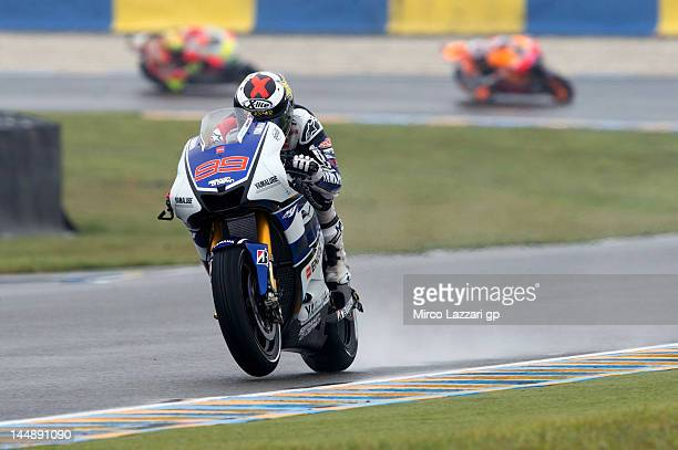 Jorge Lorenzo of Spain and Yamaha Factory Team leads the field during the French MotoGP race on May 20 2012 in Le Mans France