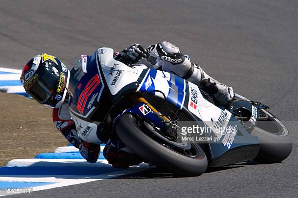 Jorge Lorenzo of Spain and Yamaha Factory Team rounds the bend during the qualifying practice of the MotoGP Of Japan at Twin Ring Motegi on October...