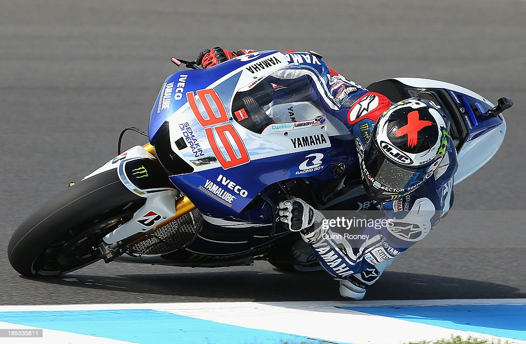 <a gi-track='captionPersonalityLinkClicked' href=/galleries/search?phrase=Jorge+Lorenzo&family=editorial&specificpeople=543869 ng-click='$event.stopPropagation()'>Jorge Lorenzo</a> of Spain rides the #99 Yamaha Factory Racing Yamaha during free practice at Phillip Island Grand Prix Circuit on October 19, 2013 in Phillip Island, Australia.
