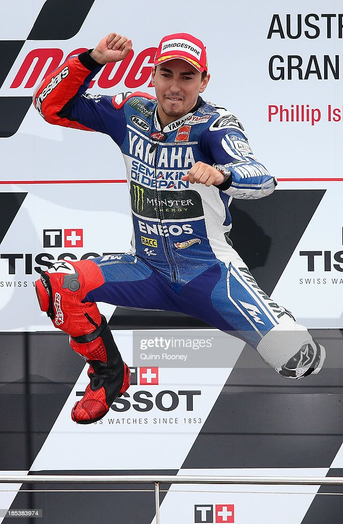 <a gi-track='captionPersonalityLinkClicked' href=/galleries/search?phrase=Jorge+Lorenzo&family=editorial&specificpeople=543869 ng-click='$event.stopPropagation()'>Jorge Lorenzo</a> of Spain who rides the #99 Yamaha Factory Racing Yamaha celebrates winning the Australian MotoGP race at Phillip Island Grand Prix Circuit on October 20, 2013 in Phillip Island, Australia.
