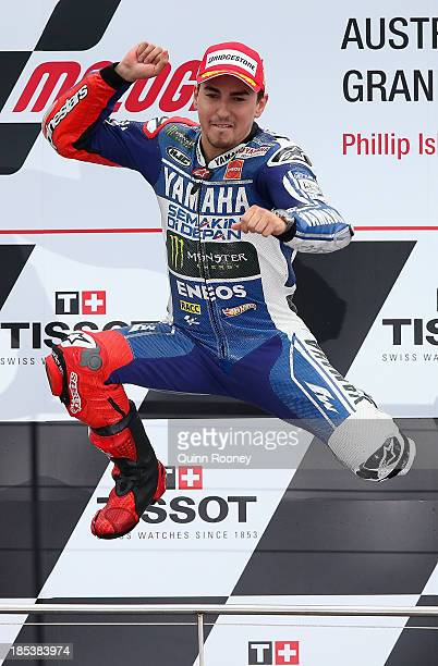 Jorge Lorenzo of Spain who rides the Yamaha Factory Racing Yamaha celebrates winning the Australian MotoGP race at Phillip Island Grand Prix Circuit...