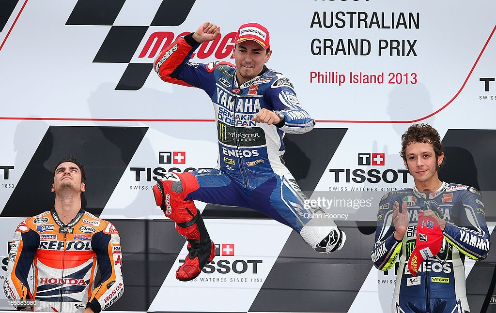 Jorge Lorenzo of Spain who rides the #99 Yamaha Factory Racing Yamaha celebrates winning the Australian MotoGP race at Phillip Island Grand Prix Circuit on October 20, 2013 in Phillip Island, Australia.
