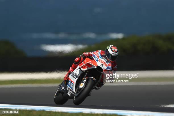 Jorge Lorenzo rides the DUCATI TEAM Ducati during free practice for the 2017 MotoGP of Australia at Phillip Island Grand Prix Circuit on October 20...